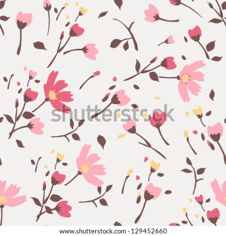 seamless summer tiny floral pattern on pink  background - stock vector
