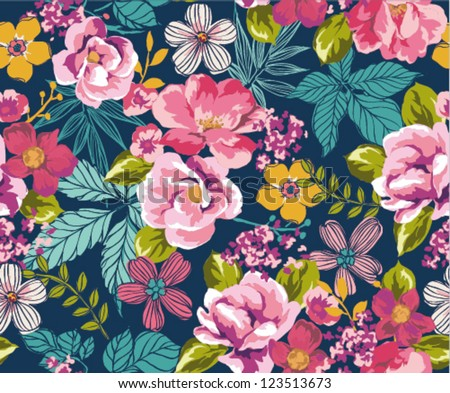 Seamless Summer Tropical Floral Background Vector Pattern