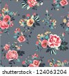 seamless summer tropical flowers pattern on dark grey background - stock vector