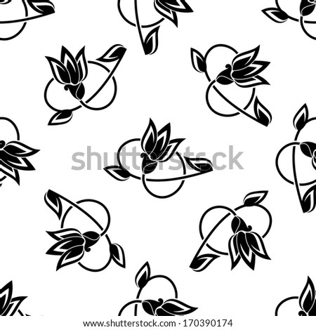Seamless swirling floral seamless pattern background of black and white sketched flowers. Rasterized version also available in gallery - stock vector