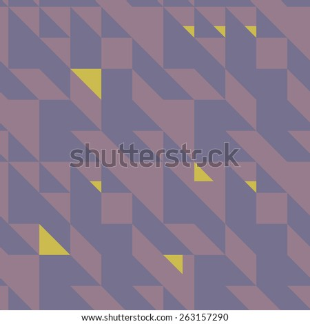 Seamless symmetrical abstract geometric pattern vector illustration. Triangle based shapes. Muted violet color. - stock vector