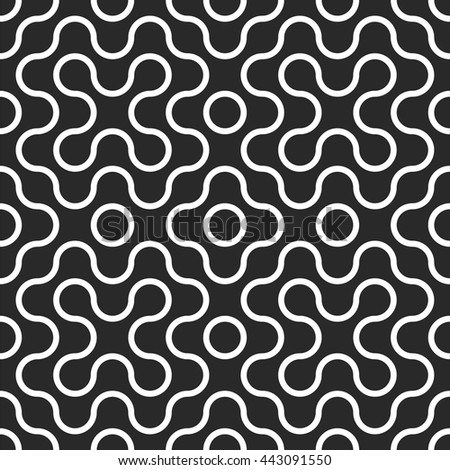 Seamless tangled techno pattern. Abstract rounded geometric shape. Vector black and white tangled round stripes background. - stock vector