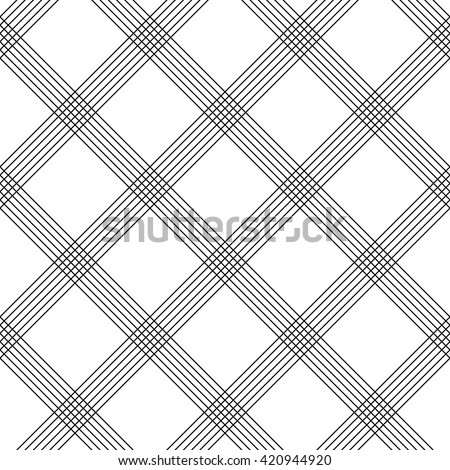 Seamless Tartan Pattern. Vector Black and White Woven Background. British Plaid Ornament. Abstract Diagonal Thin Line Pattern. Wrapping Paper Checks Texture - stock vector