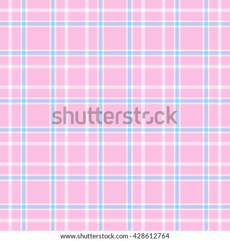 Seamless tartan plaid pattern. Blue and white stripes on pink background.