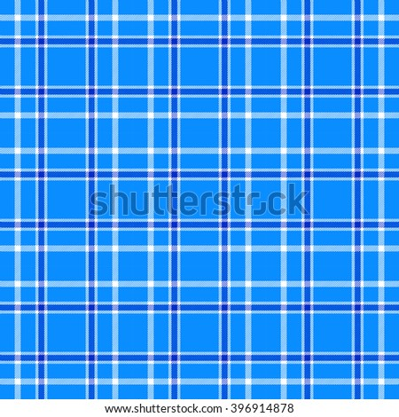 Seamless tartan/plaid pattern. Blue, navy blue and white check. Traditional textile design.