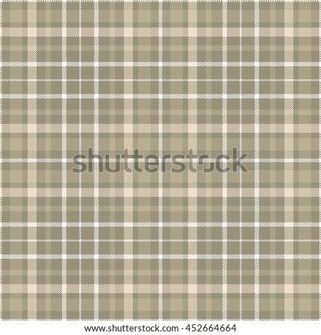 Seamless tartan plaid pattern in shades of khaki brown, beige & white.  - stock vector