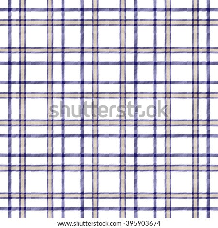 Seamless tartan plaid pattern. Navy blue and brown twill on white background.  - stock vector