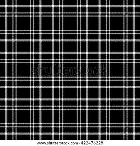 Seamless tartan plaid pattern. Thin white stripes on black background. - stock vector