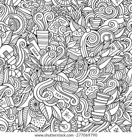 Seamless tea doodles abstract pattern background - stock vector
