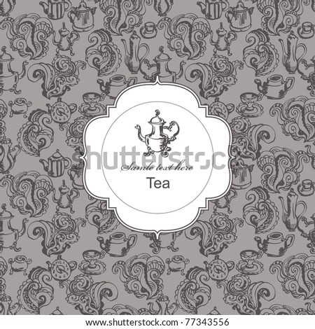 Seamless tea time pattern with card label - stock vector