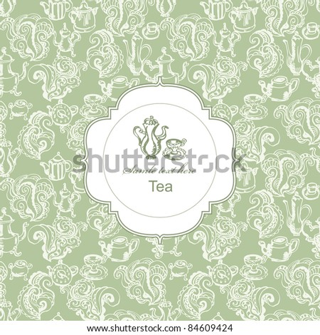 Seamless tea time pattern with card label in green - stock vector