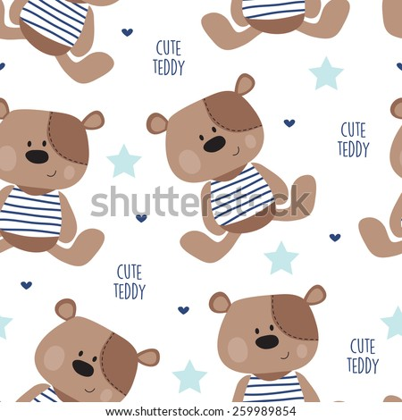 seamless teddy bear pattern vector illustration - stock vector