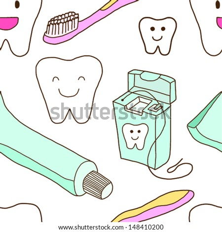 Seamless Teeth care - stock vector