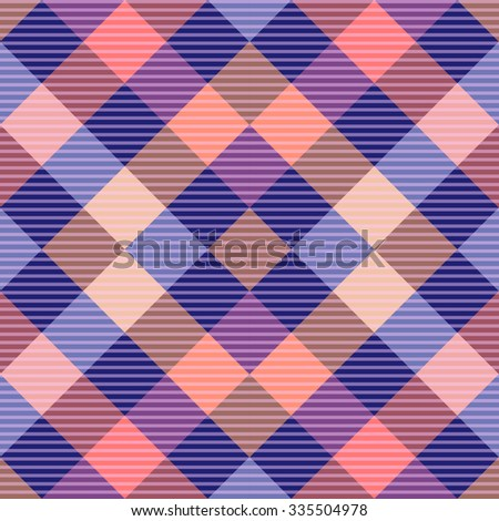 Seamless textile diagonal checkered rhombus pattern. Brown, beige, purple, pink. Backgrounds & textures shop. - stock vector