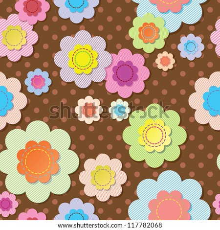 Seamless textile flowers on brown polka dot fabric. - stock vector