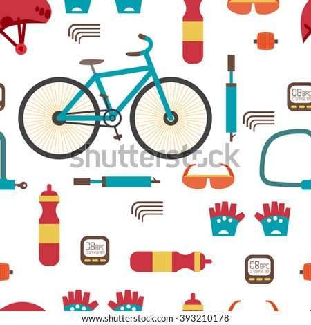 Seamless textile pattern with Mountain bike kit. Set riding bikes isolated on white background. Vector color seamless flat pattern - stock vector