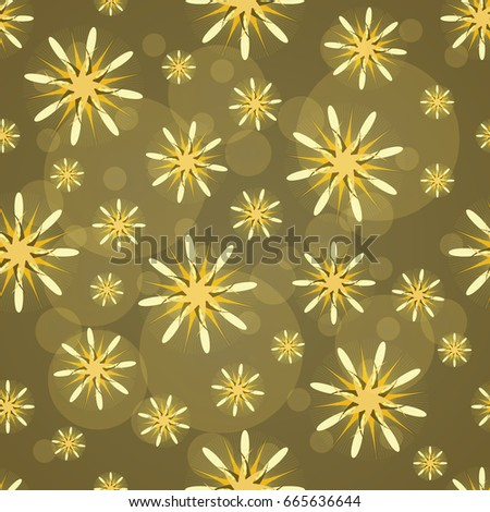 Seamless texture. Abstract pattern with yellow figures. Abstract yellow flowers. Taxtile pattern.