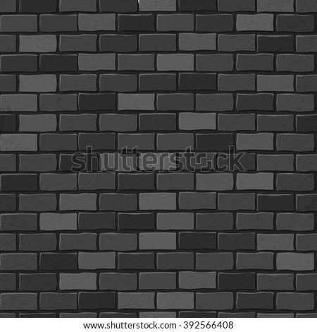 Seamless texture. Black brick white wall. Vector illustration. - stock vector