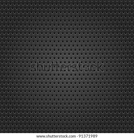 Seamless texture black metal surface star perforated background. This vector illustration saved 8 eps - stock vector