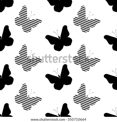 seamless texture butterfly silhouette - stock vector