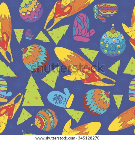 seamless texture, Christmas, Christmas theme, the elements of the new year, mittens, snowflakes, forests with a heart in his hand, Christmas balls, toys, tree, vector bright color - stock vector