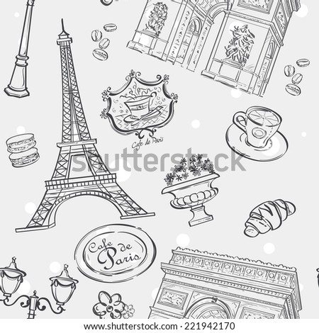 Seamless texture in black outline with the image of the Eiffel Tower, France, and other items - stock vector
