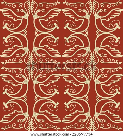 seamless texture motif bird of Paradise Golden yellow pattern on a red background - stock vector