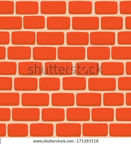 Seamless texture of a cartoon brick wall  - stock vector