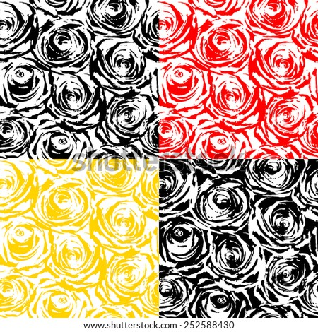 Seamless texture of black, white, yellow and red roses - stock vector
