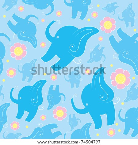 seamless texture of blue cartoon elephants and pink flowers