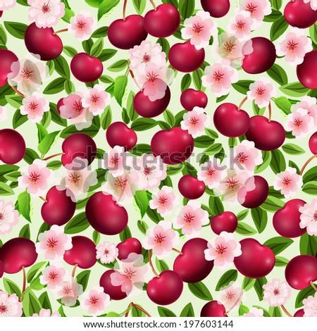 seamless texture of cherry - stock vector