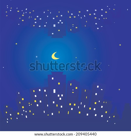 Seamless texture of  city, night sky, stars and moon. Buildings and light in windows. Background - stock vector