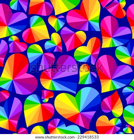 Seamless texture of colored hearts made of rainbow