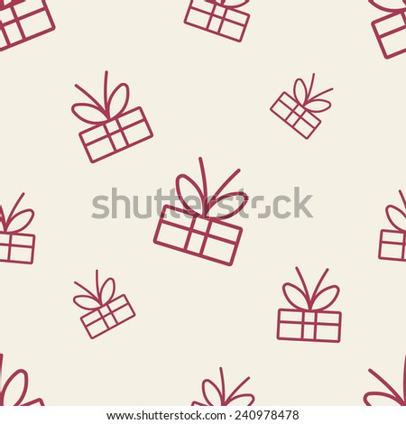 seamless texture of colored silhouette of gifts on a light background