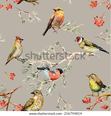 seamless texture of cute birds. watercolor painting - stock vector