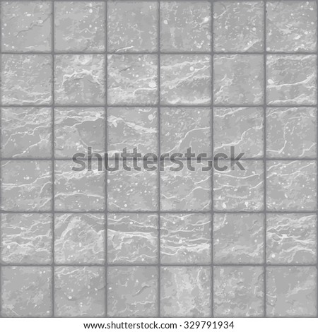 Seamless texture of grunge gray stone tiles wall with spots. Eps8 - stock vector