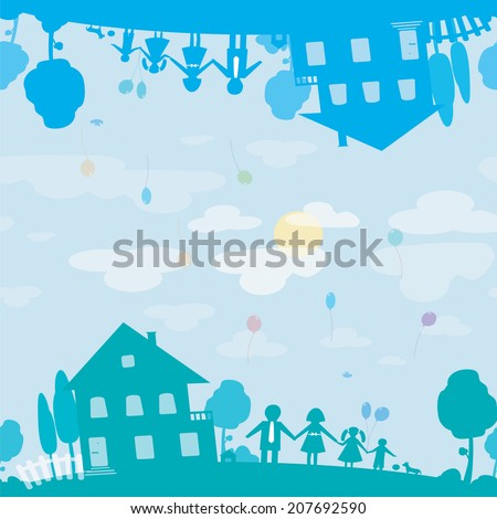Seamless texture of happy family and house of dream. Illustration  - stock vector