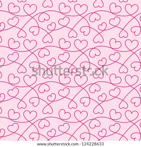 Seamless texture of red hearts for a Valentine day. Pink background.
