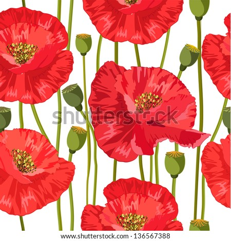 seamless texture of red poppies - stock vector