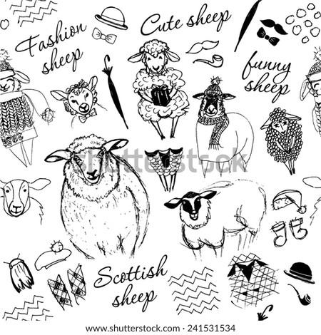 Seamless texture of sheep. Monochrome. Hand drawn vector illustration. - stock vector