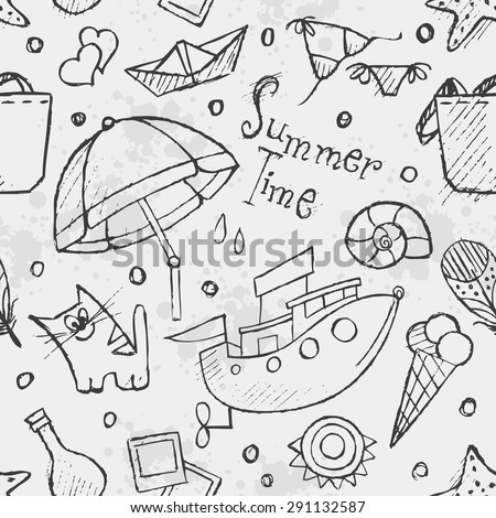 Seamless texture of summer vector hand-drawn doodles. Black contour.