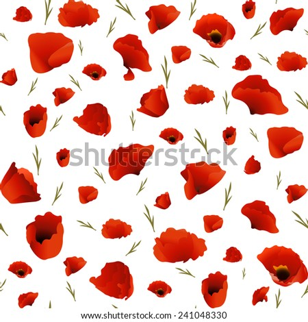 Seamless texture of the poppies with leaves - stock vector