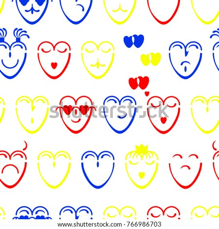 Good Seamless Texture Of Yellow, Red And Blue Hearts With Different Moods On The  White Background Idea
