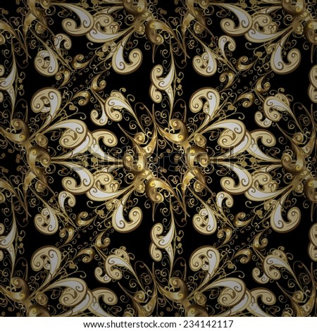 Seamless texture on black background. Vector illustration. Seamless pattern for your design wallpapers, pattern fills, web page backgrounds, surface textures. Ornamental branch or floral background.
