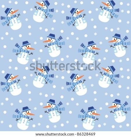 Seamless texture on New Year's theme. A lot of snowmen - stock vector