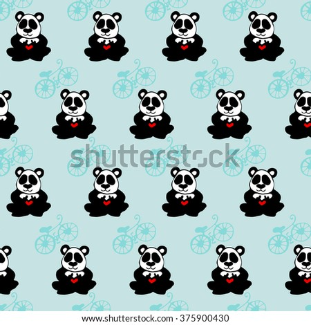 seamless texture panda heart and bicycles on a blue background - stock vector