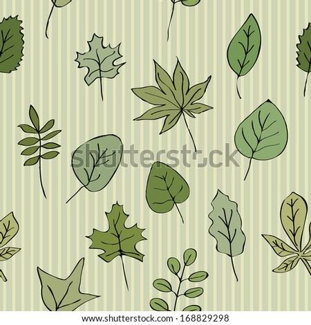 Seamless texture pattern of green leaves striped background. Use as a pattern fill, backdrop, surface texture - stock vector
