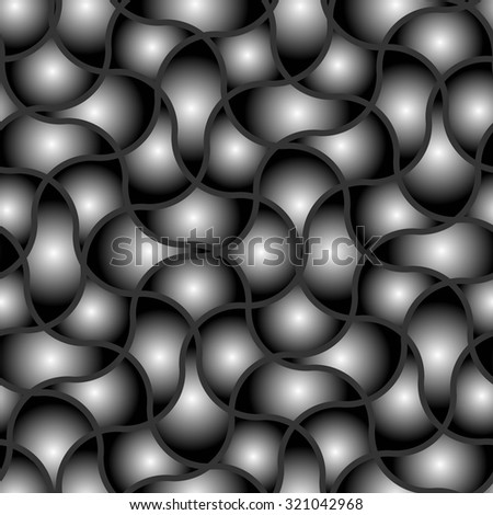 Seamless texture pattern with black wave tiles - stock vector