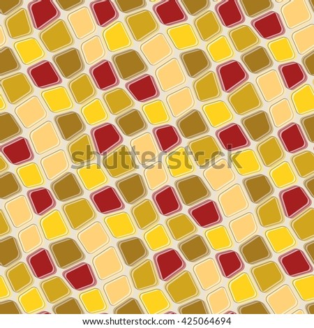 Seamless texture pattern with brown yellow rugged tiles - stock vector