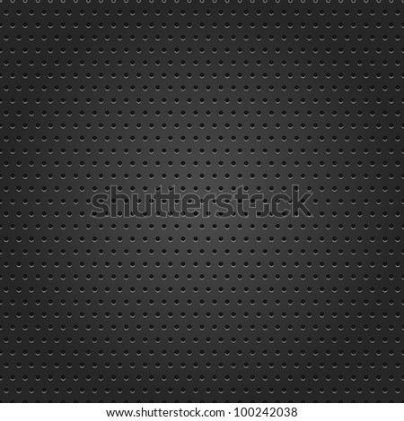 Seamless texture perforated small round dot black metal surface dark gray background. This vector illustration saved 8 eps.